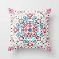 Pastel Blue, Pink & Red Watercolor Floral Pattern on Cream Throw Pillow by micklyn