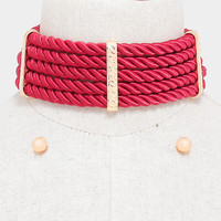 """14""""  twisted rope wide collar bib choker necklace .30"""" earrings chunky"""