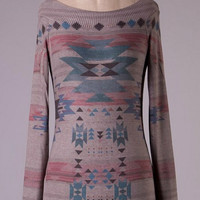 Fitted Aztec Tunic Top - Mocha