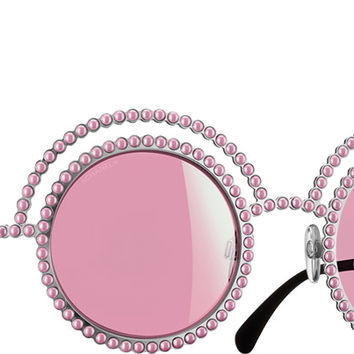 Chanel Sunglasses Silver & white Round Runway | Online Boutique