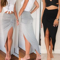 ONETOW Ladies Ruched Side Split Slim Skinny Slit Maxi Long Pencil Skirt Day-First?