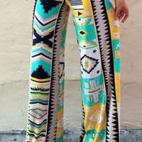 Geometric Print Wide-Leg Pants