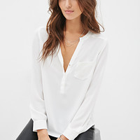 LOVE 21 Flat Collar Blouse White/Gold