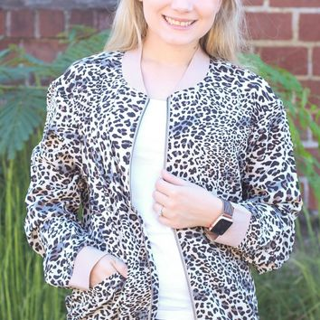 Lighweight Bubble Crepe Leopard Jacket - Size MEDIUM
