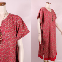 Vintage 70s 80s - Red Ethnic Paisley Floral Print Cotton Caftan Tunic Dress - Hippie New Age Boho