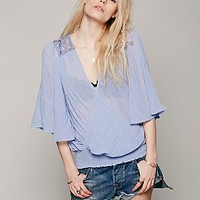 Free People Womens Open Ended Wrap Blouse - Lake