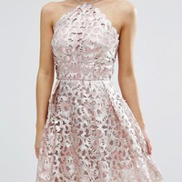Chi Chi Petite Cutwork Detail Prom Dress With Foil Detail at asos.com