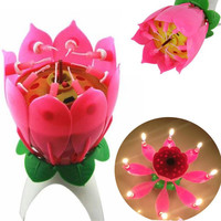 2017 Romantic Musical Lotus Flower Happy Birthday Party Gift Music Candle Lights