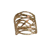 Filigree Wedding Ring - 14k Yellow Gold Plate Over Brass Ring Fashion Ring Gold Engagement Band Bridal