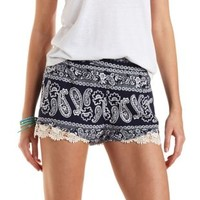 Crochet-Trim Printed High-Waisted Shorts