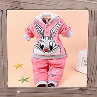 New Baby Girls Hoodie Tracksuit 2 PCS Out-fits Sportswear Bunny Rabbit  Fall WinterCoat Baby Clothes