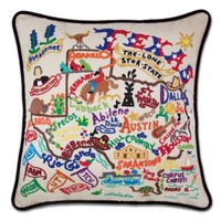 TEXAS HAND-EMBROIDERED PILLOW