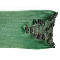 """Emerald Green:  21"""" Clip In 100% Human Hair Extensions"""