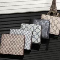 """Gucci"" Men Purse Fashion Retro Classic Double G Letter Logo Print Short Section Fold Wallet"