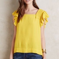 Maeve Ruffled Marigold Blouse in Yellow Size: