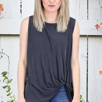 Get Twisted Comfy Basic Tank {Charcoal}