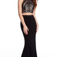 Alyce 60134 Black-Nude Two Piece Dress with Jersey Skirt