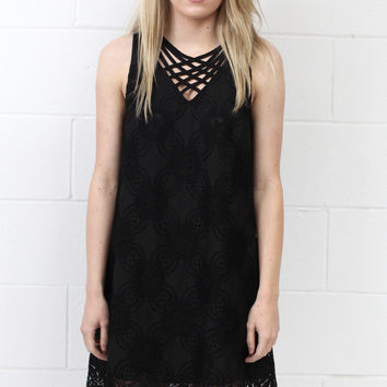 Sweet on You Crochet Lace Strappy Neckline Dress {Black}