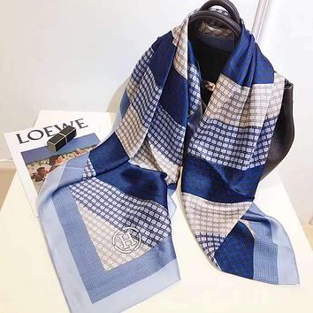 """Hermes"" Spring Summer Women Temperament Fashion Double-Sided Letter Print Spell Color Stripe Silk Scarf Shawl"