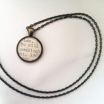 To Kill a Mockingbird necklace, Harper Lee, literature jewelry, holiday gift ideas, teacher gift, book club gifts, social justice gift