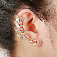 2016 New Fashion  Party Jewelry Gold/Silver Plated Full Rhinestone Statement Crystal Leaf Ear Cuff Earrings For Women