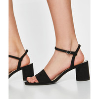 FAUX PATENT LEATHER BLOCK-HEEL SANDALS
