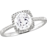 Sterling Silver White Sapphire & .01 CTW Diamond Halo-Style Ring