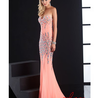 Jasz Couture 4823 Coral Beaded Strapless Sweetheart Gown 2015 Prom Dresses