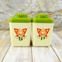 Vintage Salt and Pepper Shakers with Butterfly Design, Retro Kitchen