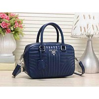 PRADA Trending New Style Ladies Leather Satchel Tote Handbag Zipper Shoulder Bag Crossbody Blue I-MYJSY-BB