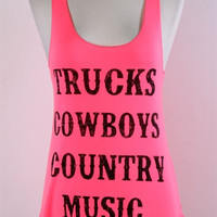 Trucks,Cowboys, Country Music Tank- 3 Colors