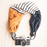 Camera Strap The VC Maria Camera Strap Scarf Navy and Gold Comfort