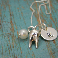 Solid Sterling Silver Custom Made Hand Stamped Dainty Dentist, Dental Hygienist, Tooth, Teeth, Molar Initial Necklace (3/8th disc)