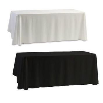 Newcomdigi Classic Black & White Table Cover Cloth Banquet Wedding Birhtday Party 145x145CM [7983420231]