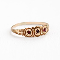Antique Rose Gold Filled Simulated Ruby Ring -  Victorian Size 9 Triple Red Pink Stone Star Jewelry
