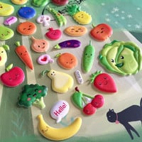 cute cartoon fruit vegetable sticker happy fruit party smile food pear Strawberry puffy sticker cookbook label recipe notebook meal label