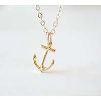 Tiny Gold Anchor Necklace