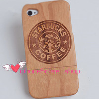 Starbucks Natural bamboo case walnut iPhone 5s Case iPhone 5/5C Case Wood iPhone 4/4S Case Walnut samsung s3/s4 case samsung note 2 case