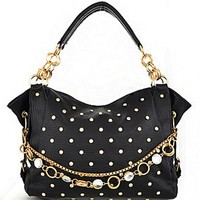 Bling! Gold Tone Rhinestone Studded Purse w/ Embellished Chain Accent Black