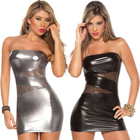 New Women Sleeveless Sexy Patent Leather Bodycon Strapless Lure Clubwear Party Stripper Mini Dress High Quality