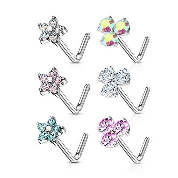 WILDKLASS 6 Pcs of CZ Flower and 3 Prong Set CZ Top 316L Surgical Steel L Bend Nose Stud Rings Gem Box Package