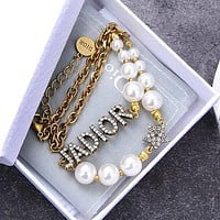 DIOR Hot Sale Women Fashionable Letter Diamond Pearl Necklace Jewelry