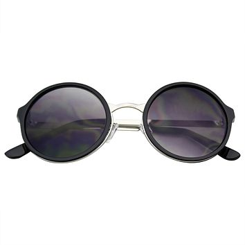 Retro Round Circle Lens Sunglasses Metal Trim
