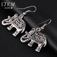 17KM Unique Tibetan Silver Color Hollow Carved Elephant  Drop Dangle Fashion Hollow Out Vintage Earrings For Women Party Jewelry