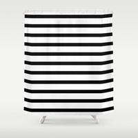 Black Stripe Pattern Shower Curtain by RexLambo