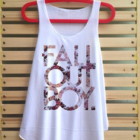 fall out boy flower shirt fall out boy tank top clothing vest tee tunic singlet women shirt - size S M