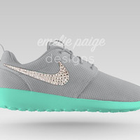 Custom Nike Roshe Run (Gray/Mint Sole) running shoes with Swarovski Crystals