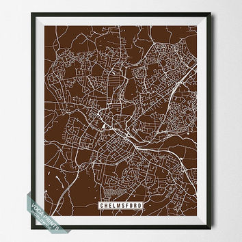 Chelmsford Print, England Poster, Chelmsford Poster, Chelmsford Map, England Print, Street Map, United Kingdom, Wall Art