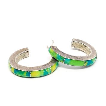 Mexican Calcite blue yellow and green sterling silver inlay hoop earrings 925