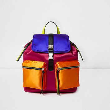 Pink satin colour blocked backpack
